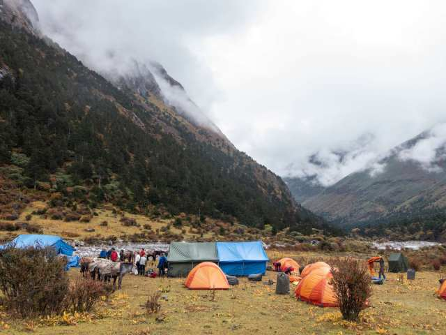 Limithang camp in the morning - trekkers ready to go