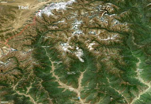 a satellite view of the first three days of the trek - the way to Jomolhari B.C./Jangothang