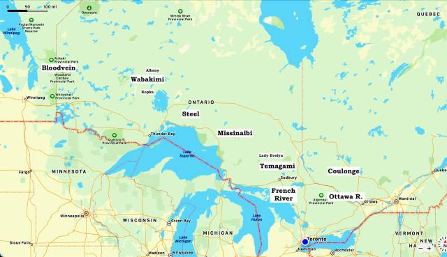 canoe trip overview map